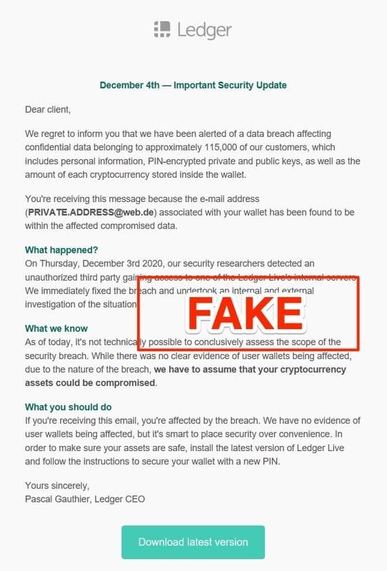Email lừa đảo kêu người dùng tải phần mềm Ledger Live giả mạo!